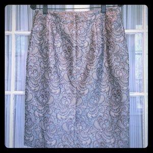 Silver brocade Ann Taylor Skirt